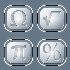 Set of four icon and math symbols