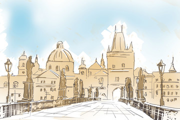 Artistic digital painting of Charles Bridge Prague