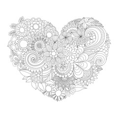 Hand drawn flowers in the heart shape