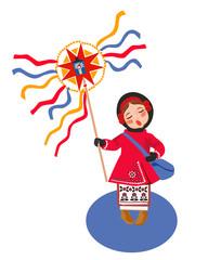 Poster Ridders Celebrating winter holidays in Ukraine, card concept.
