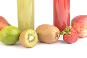 Fresh fruit juices on white