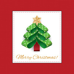 Vector stylized Christmas tree from ribbons with polka dots.Vector illustration of a Christmas tree of green dotted ribbon with a gold star on top.The inscription Merry Christmas!