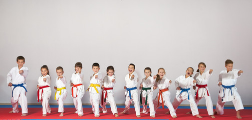 Aluminium Prints Martial arts sport karate kids