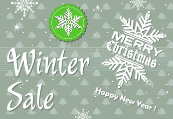 Abstract colorful background with snow flake decorations and the text winter sale written with white letters