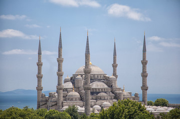 Sultanahmet Mosque (Blue mosque) with blue sky and sea, Istanbul, Turkey