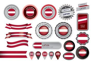 Made in Latvia Seal, Latvian Flag (Vector Art)