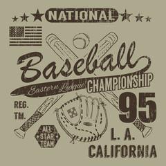 Baseball sport typography, Eastern league los angeles, sketch of crossed baseball batsand glove t-shirt Printing design graphics, vector illustration poster, Badge Applique Label