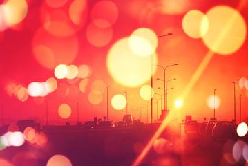 Traffic in sunset