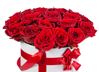 gift hatbox with colorful red roses on Valentine's day holiday,