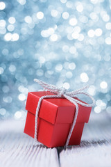Gift box over defocused lights