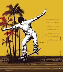 summer scene with yellow background and skate rider