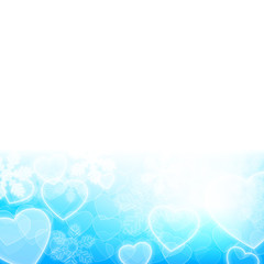 Winter holiday background with snowflakes and heart shapes
