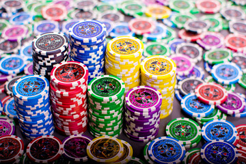 Columns of poker chips.