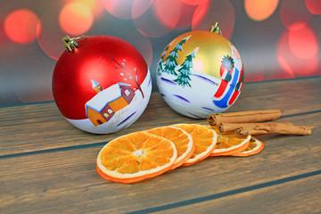 Christmas decoration, christmas balls, cinnamon and dried orange