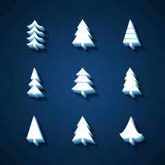 Set of Christmas trees 3d icons.