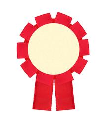 Blank red award winning ribbon rosette isolated on White Backgro