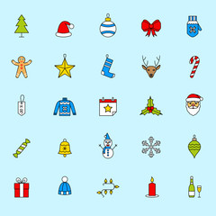 Christmas icons set. Holiday New Year icons.