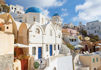 Santorini - The look to typically blue-white church in Oia.