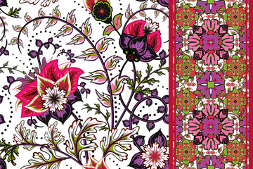 Set of elegance seamless pattern with floral, seamless border. Vector background