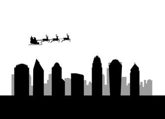 santa flying over the city of Charlotte