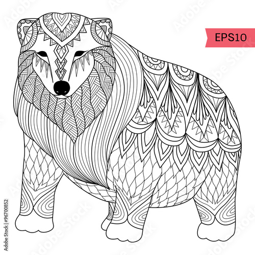 Hand Drawn Polar Bear Zentangle Style For Coloring Booktattoot