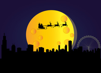 santa flying over the city of chicago