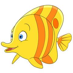 cute tropical cartoon butterfly fish is smiling
