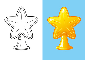 Coloring Book Of Christmas Gold Star For Tree