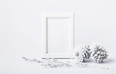 White frame with cones and branches of plants