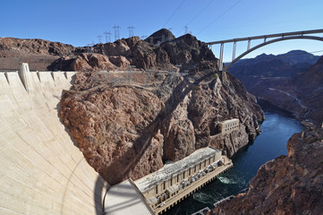 Aluminium Prints Dam Hoover Dam in sunny day - border of Arizona and Nevada