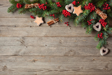 Christmas wooden background with ornaments