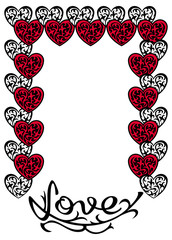 Decorative frame with hearts and artistic drawn text