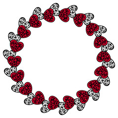 Round  silhouette frame with hearts