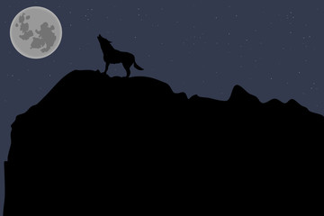a lone wolf howling at the moon at night
