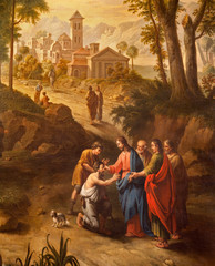 Ghent - Christ healing the blind men on the road to Jericho painting