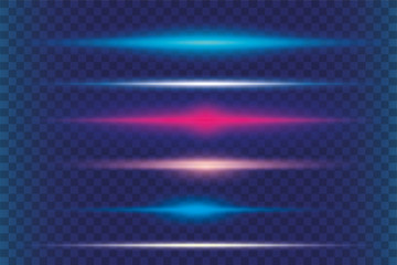 Abstract lights lines on transparent background vector illustration.
