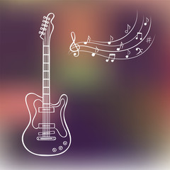 Electric guitar and music notes on blurred background, hand drawn vector. Music background.