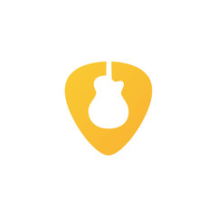 Logo Guitar Pick for Shop/ Musical School/ Other - Isolated Illustration