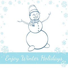 Happy Winter Snowman Isolated On White Background