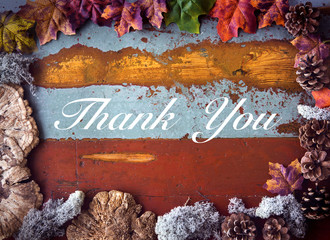 'Thank You' on wooden board