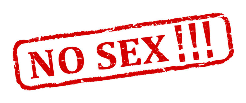 Scratched oval red stamp with the word - no sex - vector svg