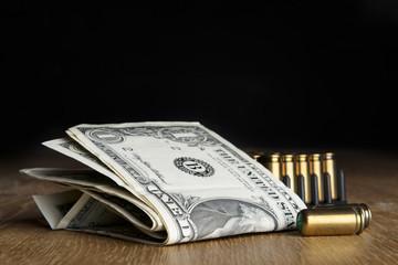 dollar bills with cartridges