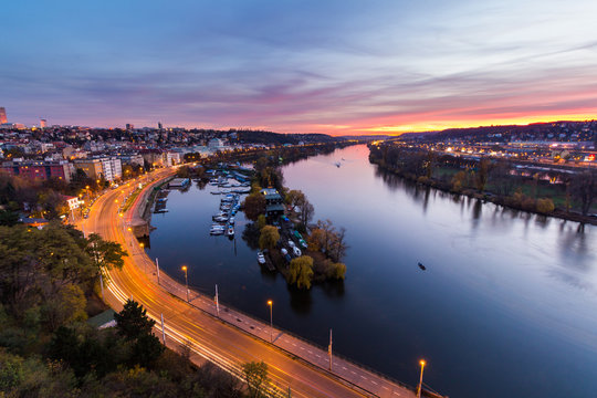 night view of marina situated behind the vysehrad castle in prague