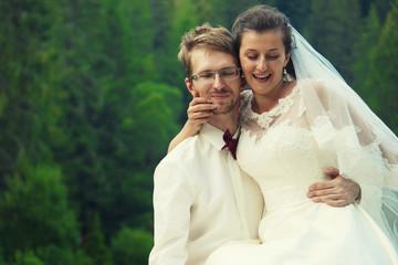 wedding couple, young and happy