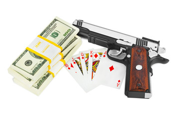 Gun money and playing cards