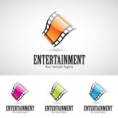 Glossy 3d Cartoon Film Reel Logo Icon