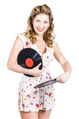 DJ disco pin-up girl rocking out to retro vinyl