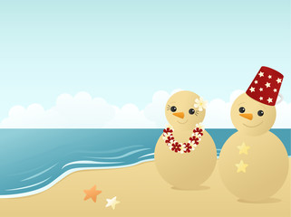 Beachy snowman in the sand