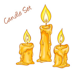 vector illustration of set with isolated cartoon hand drawn melted candles