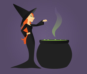 Long-haired witch standing next to a bubbling cauldron